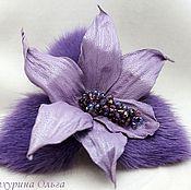 Украшения ручной работы. Ярмарка Мастеров - ручная работа Орхидея из кожи и меха. Handmade.