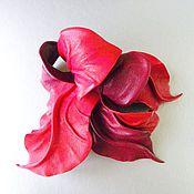 Украшения handmade. Livemaster - original item Large leather flower brooch red cherry Bordeaux. Handmade.