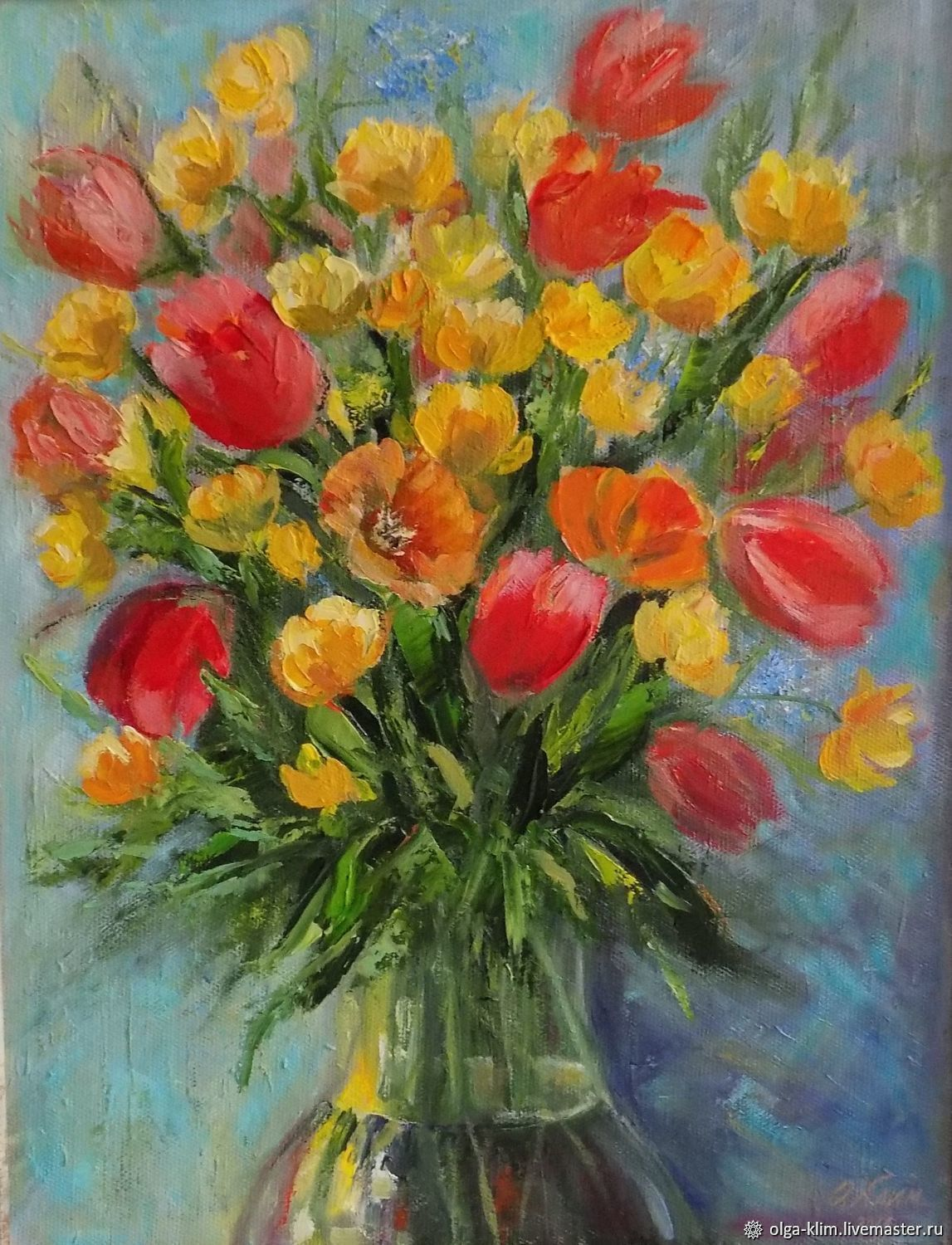 Painting summer bouquet with yellow flowers in a vase oil on canvas, Pictures, Ekaterinburg,  Фото №1