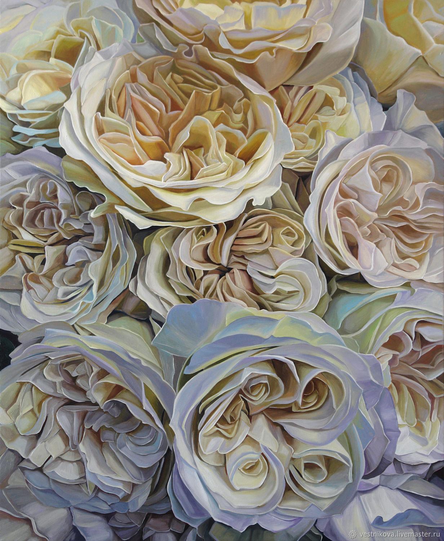 """Картина """"Белые пионовидные розы"""" масло, холст 80х100 см, Картины, Москва,  Фото №1"""