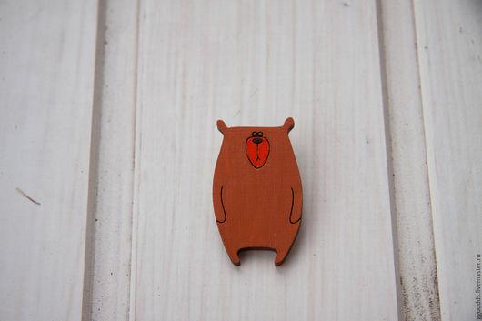 Броши ручной работы. Ярмарка Мастеров - ручная работа. Купить Брошь деревянная Медведь. Handmade. Коричневый, брошка ручной работы