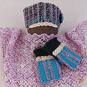 Аксессуары ручной работы. Ярмарка Мастеров - ручная работа Теплые вязаные митенки и повязка на голову Ельник в мороз. Handmade.