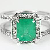 Украшения handmade. Livemaster - original item 2.38tcw Emerald & Double Shank Diamond Engagement Ring, 14K Gold. Handmade.
