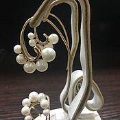 Украшения handmade. Livemaster - original item Pearl. Gold earrings and a ring with pearls and diamonds. Handmade.