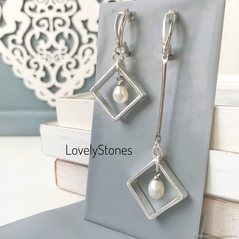 Asymmetrical earrings with white pearl silver long earrings, stylish, Earrings, Yaroslavl,  Фото №1