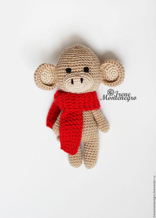 Игрушки животные, ручной работы. Ярмарка Мастеров - ручная работа. Купить Маленькая обезьянка. Handmade. Коричневый, амигуруми, новорожденному, шарф