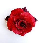 Украшения handmade. Livemaster - original item Brooch flower leather rose Carmen red scarlet. Handmade.
