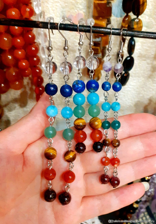 Long Chakra Earrings with Natural Stones rainbow Stones, Earrings, Naro-Fominsk,  Фото №1