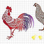 Материалы для творчества ручной работы. Ярмарка Мастеров - ручная работа Трафарет Петух, Курица, цыплята А4. Handmade.