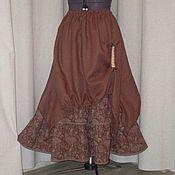 Одежда ручной работы. Ярмарка Мастеров - ручная работа №158.1 Льняная длинная юбка-бохо. Handmade.