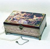 """Для дома и интерьера handmade. Livemaster - original item Шкатулка для украшений """"Три девицы под окном..."""". Handmade."""