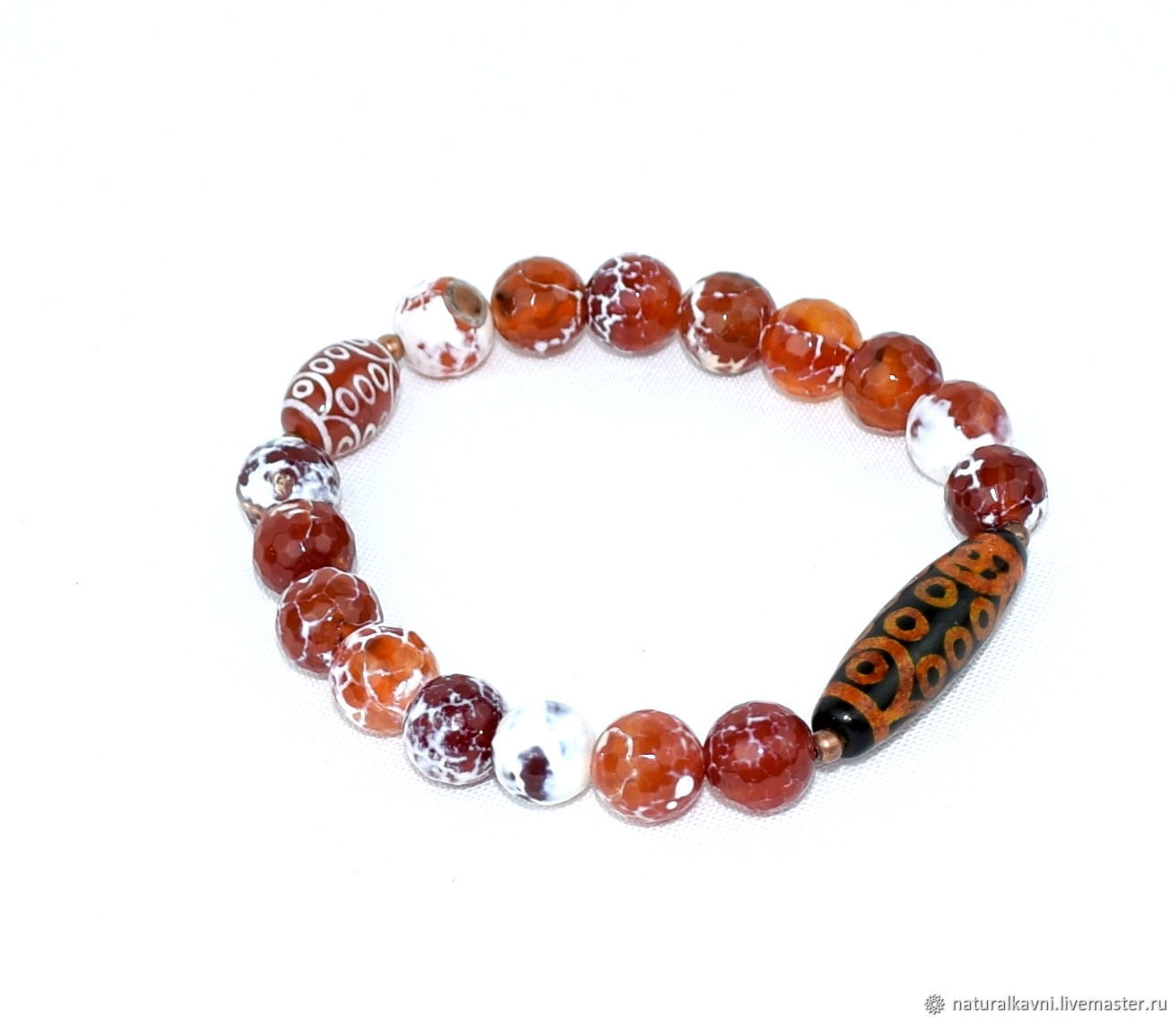 Natural agate and Dzi 21 eye bracelet, Bead bracelet, Moscow,  Фото №1