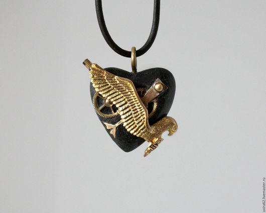 """Кулоны, подвески ручной работы. Ярмарка Мастеров - ручная работа. Купить Кулон сердце """" HARLEY-DAVIDSON. Handmade. Черный"""