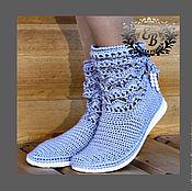 Обувь ручной работы. Ярмарка Мастеров - ручная работа Полусапожки летние обувь вязаная  полусапожки женские обувь на заказ. Handmade.