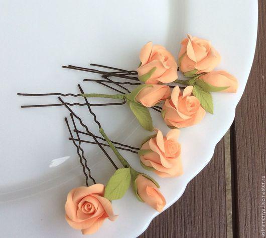 Свадебные украшения ручной работы. Ярмарка Мастеров - ручная работа. Купить Свадебные шпильки персиковые розы из полимерной глины. Handmade.