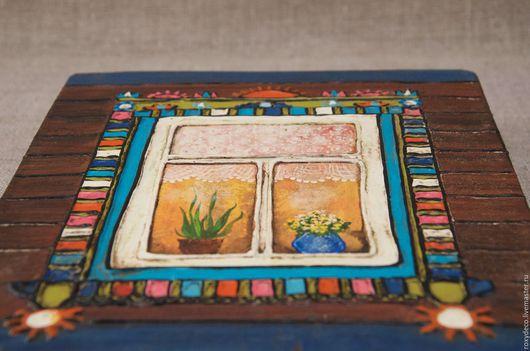 Этно ручной работы. Ярмарка Мастеров - ручная работа. Купить Весёлый наличник.. Handmade. Настенное панно, красочный, окно