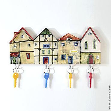 For home and interior handmade. Livemaster - original item Wooden Key holder Cosy Houses. Handmade.