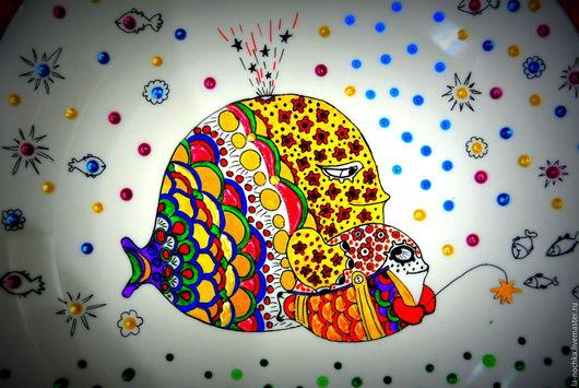 """Животные ручной работы. Ярмарка Мастеров - ручная работа. Купить Тарелка декоративная """"Мама кит и сын китенок"""". Handmade. Комбинированный"""