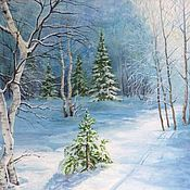 Картины и панно handmade. Livemaster - original item The picture Winter fairy tale landscape, oil, snow-covered forest, landscape, blue. Handmade.
