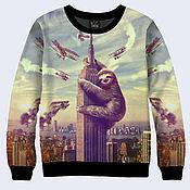 """Одежда ручной работы. Ярмарка Мастеров - ручная работа Свитшот """"Ленивец на небоскребе"""". Handmade."""