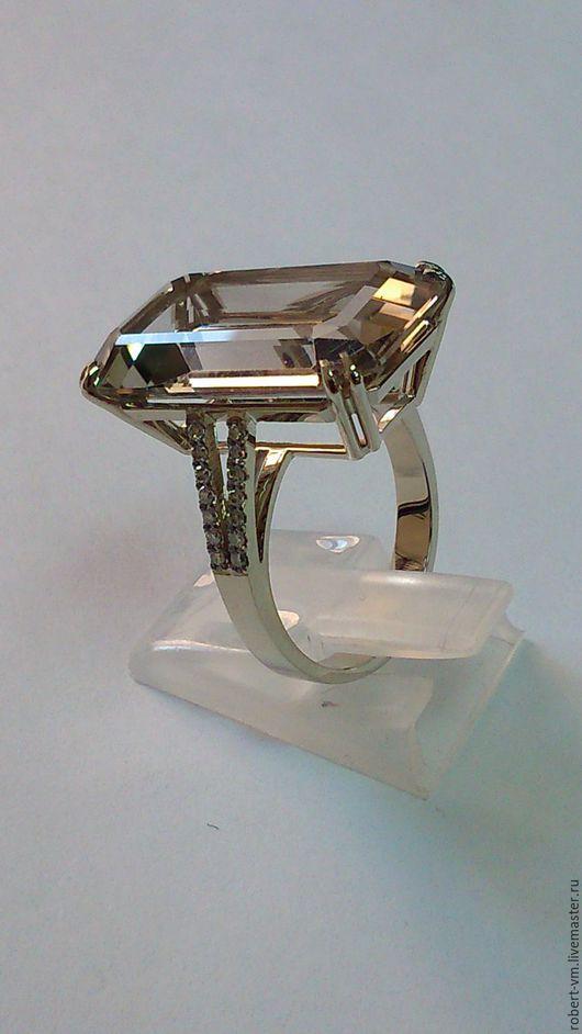 Кольца ручной работы. Ярмарка Мастеров - ручная работа. Купить кольцо с дымчатым кварцам. Handmade. Кварц натуральный, белое