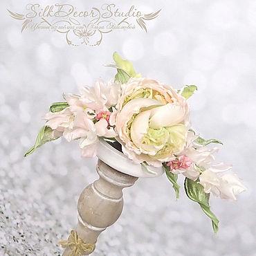Свадебный салон ручной работы. Ярмарка Мастеров - ручная работа Цветы из ткани Свадебные украшения волос Диадема. Handmade.