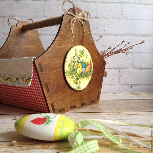 Подарки на Пасху ручной работы. Ярмарка Мастеров - ручная работа. Купить Лукошко для кулича и яиц. Handmade. Пасха, короб