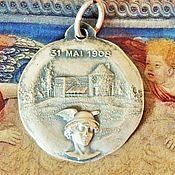 Винтаж ручной работы. Ярмарка Мастеров - ручная работа Антикварная медаль подвеска 1908 год Шарля Бренюса металл Франция. Handmade.