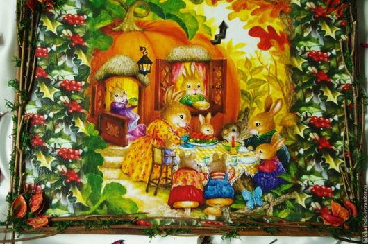 """Животные ручной работы. Ярмарка Мастеров - ручная работа. Купить """" Осенняя сказка :-)) """" Панно для интерьера. Handmade."""