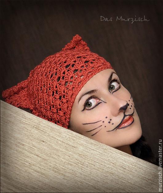 Шапочка Кошка-терракошка ручной работы.