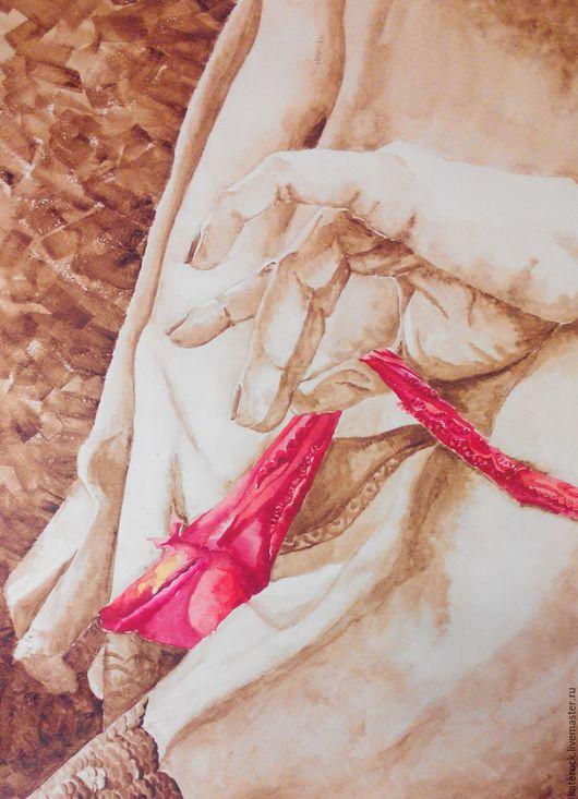 Ню ручной работы. Ярмарка Мастеров - ручная работа. Купить Соблазн (акварель). Handmade. Коричневый, обнаженная, эротика, акварель