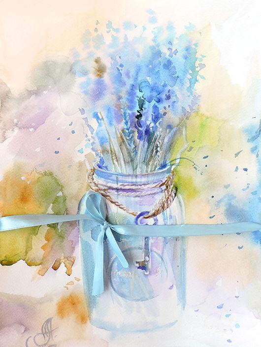 Пейзаж ручной работы. Ярмарка Мастеров - ручная работа. Купить Оттенок Лаванда. Handmade. Акварель, Лиловый цвет, нежные картины
