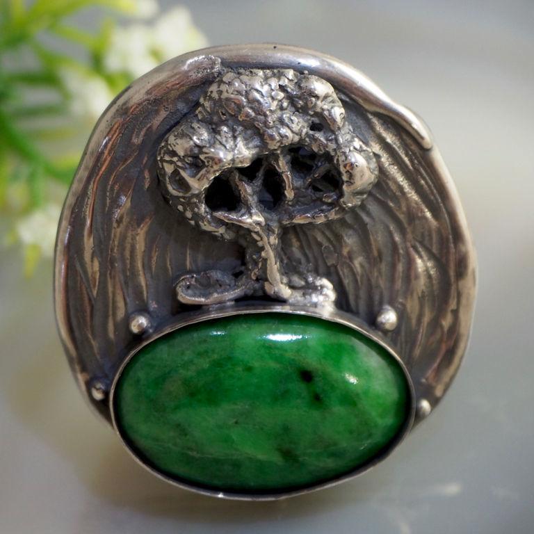 """Кольцо """"Волшебный лес"""" - натуральный жадеит, серебро, Rings, Prague,  Фото №1"""