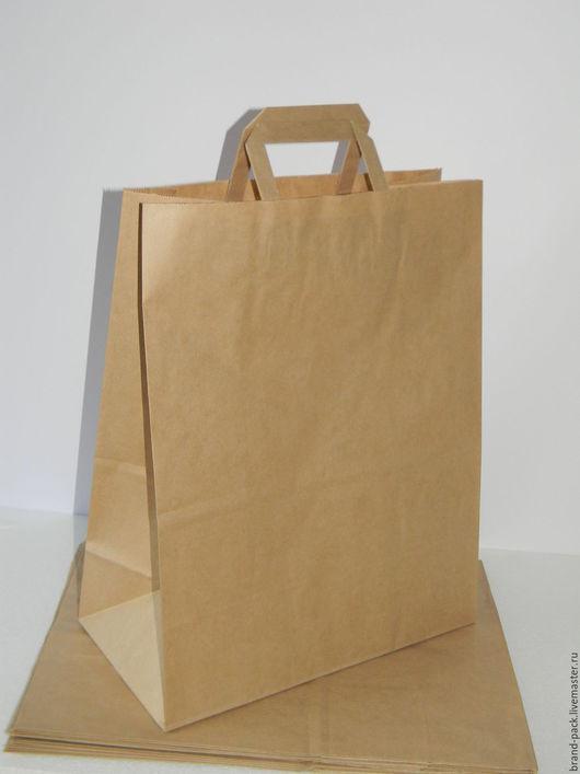 Крафт пакет с плоскими (бумажными) ручками, 45x35x15 см