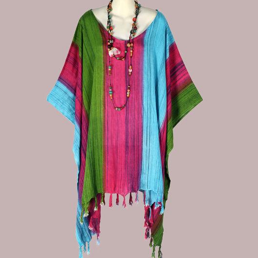 Большие размеры ручной работы. Ярмарка Мастеров - ручная работа. Купить Туника Платье Блуза Пончо летнее бохо батик вискозный шелк. Handmade.