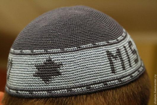 """Для мужчин, ручной работы. Ярмарка Мастеров - ручная работа. Купить ЗАКАЗ кипа еврейская, именная """"Михаэль"""". Handmade. Синий"""