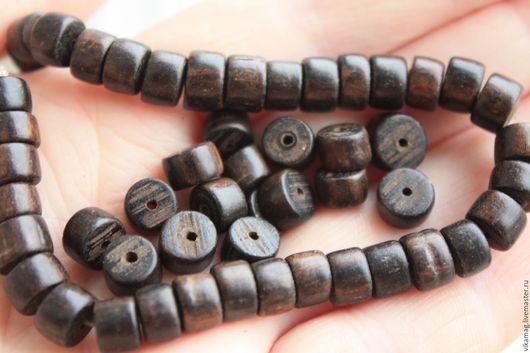 Для украшений ручной работы. Ярмарка Мастеров - ручная работа. Купить Эбеновое дерево, бусины шайбы 8 мм. Handmade.