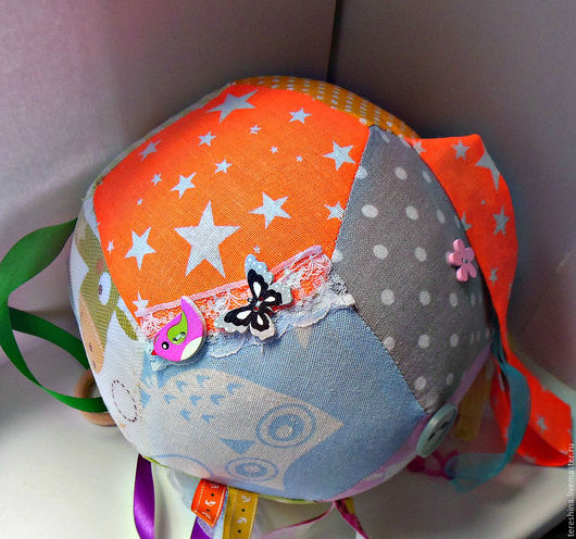 Развивающие игрушки ручной работы. Ярмарка Мастеров - ручная работа. Купить Развивающий мячик для детей Большой. Handmade. Комбинированный
