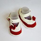 Работы для детей, handmade. Livemaster - original item Booties shoes Burgundy. Handmade.