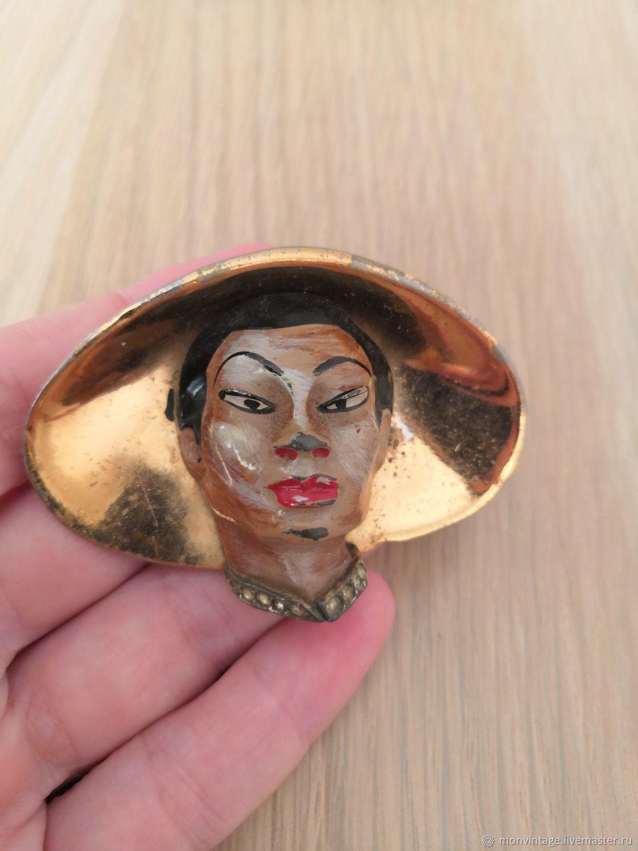 Винтаж: Антикварная брошь Китаец в шляпе от Coro, Винтажные броши, Солнечногорск, Фото №1