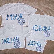 """Семейный комплект футболок  """"Гжель"""". Family look."""