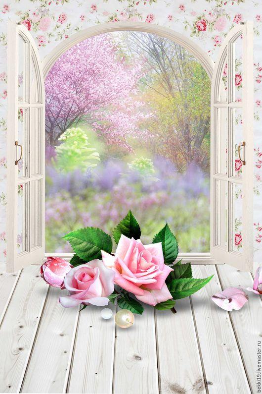 """Фото-работы ручной работы. Ярмарка Мастеров - ручная работа. Купить Фотофон """"Окно в сад 01"""" (стена+пол). Handmade. Фотофон"""