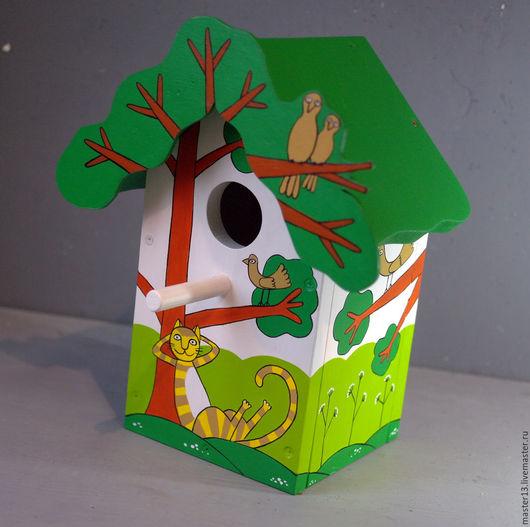 """Экстерьер и дача ручной работы. Ярмарка Мастеров - ручная работа. Купить Скворечник (ГОТОВЫЙ)  """"Рыжий кот под деревом"""". Handmade."""