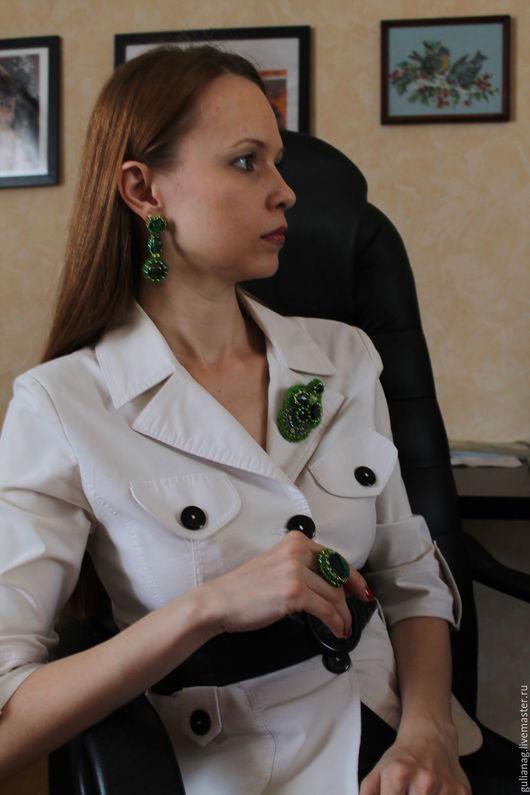 Комплекты украшений ручной работы. Ярмарка Мастеров - ручная работа. Купить Комплект украшений Нефритовая фантазия. Handmade. Зеленый