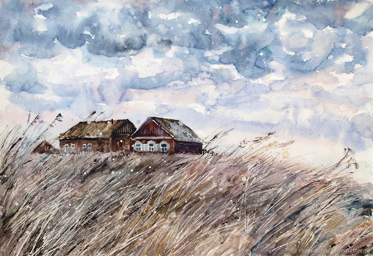 Watercolor painting Rural outskirts. Landscape watercolor, Pictures, Magnitogorsk,  Фото №1