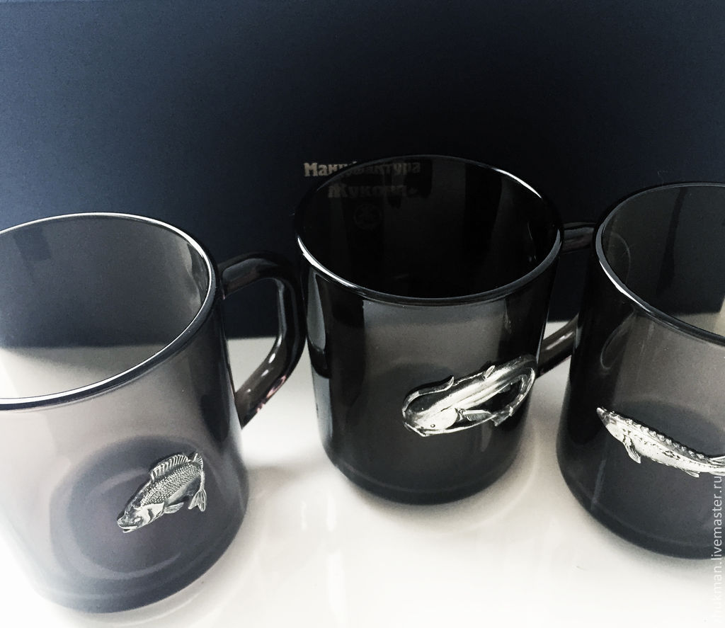 Set of black mugs 'Great catch' (3 black circles), Gifts for hunters and fishers, Zhukovsky,  Фото №1