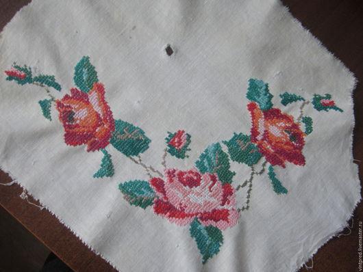 Винтажные предметы интерьера. Ярмарка Мастеров - ручная работа. Купить старая вышивка. Handmade. Комбинированный, винтажный текстиль, цветы