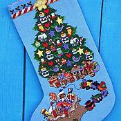 """Новогодний носок ручной работы. Ярмарка Мастеров - ручная работа Сапожок для подарков """"Новогодняя елка"""". Handmade."""