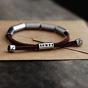 Украшения handmade. Livemaster - original item Bracelet made of genuine leather and medical steel. Handmade.