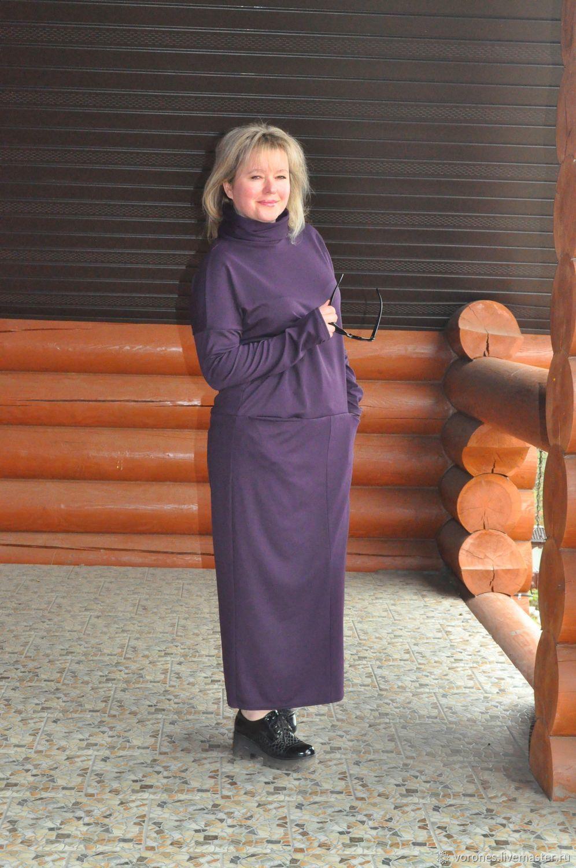 Платье из джерси. Макси. Цвет фиолет, Платья, Москва,  Фото №1